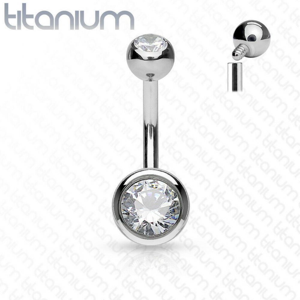 Titanium Belly Bar with Clear Gems Internally Thread
